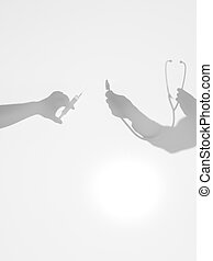 hands holding syringe and stethoscope, silhouettes - two...