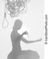 woman committing suicide, silhouette - side view of woman...