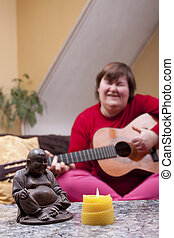Disabled woman experiences a music therapy - mentally...