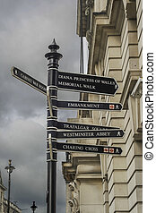 Directions to landmarks in London - Sign with directions to...