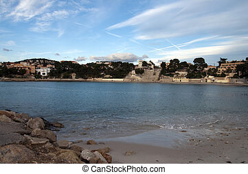 Beach of Renecro in Bandol in french riviera, France -...