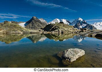 Fourcla Surlej - Mountain lake at Fourcla Surlej, Engadin,...
