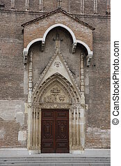 facade of the old cathedral of udine in Friuli Venezia...