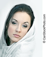 Girl in white scarf - Young woman in a white scarf