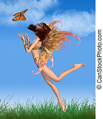 Pretty Orange Fairy in Sunshine - Pretty red-haired fairy...