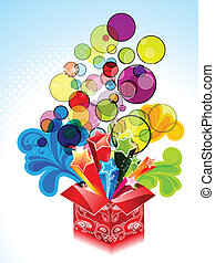 abstract explode magic box with floral vector illustration