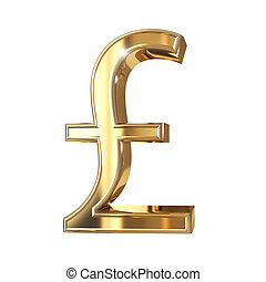 Golden 3D pound symbol with clipping path isolated on white...