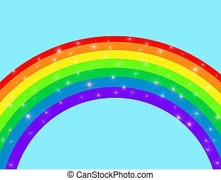 sparkling rainbow - Illustration of a rainbow with sparkles...