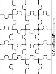 20 piece blank puzzle - Illustration of a blank puzzle of 20...
