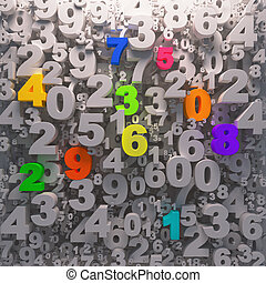 3D digits background - color 0-9 - Colorfull numbers...