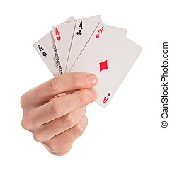 Close-up Of Hand Holding Four Aces On White Background