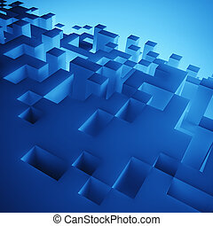 blue cubes composition wallpaper