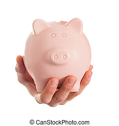 Human Hand Holding Piggybank On White Background