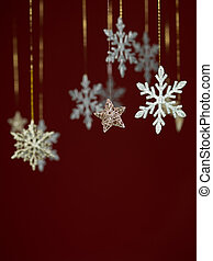 snowflakes greeting card design - closeup of hanging...