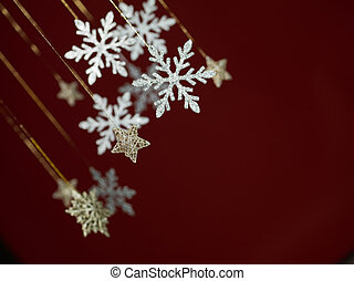 snowflake holiday greeting card - closeup of hanging...