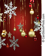 different shaped shiny christmas decorations - closeup of...