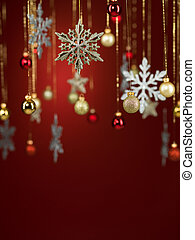 different shaped glittery christmas decorations - closeup of...