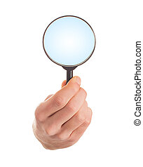 Human Hand Holding Magnifying Glass On White Background