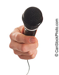 Close-up Of Hand Holding Microphone On White Background