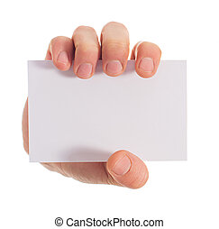 Close-up Of Hand Holding Placard On White Background