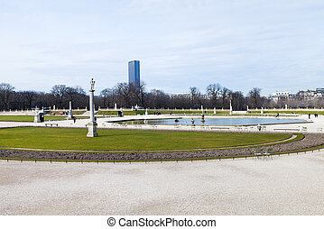 Luxembourg Palace and Gardens in Paris - view of Luxembourg...