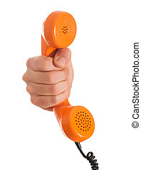 Close-up Hand Holding Telephone Receiver On White Background