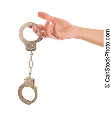 Close-up Hand Holding Handcuffs On White Background