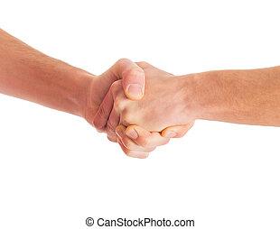 Close-up Of Handshake Isolated On White Background