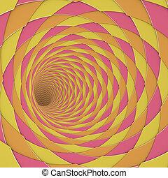 3d render diagonal tiled tunnel pink orange yellow
