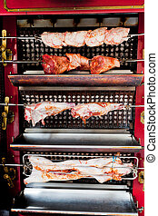 roasting meat on spit - roasting pig, lamb, chicken on spit...