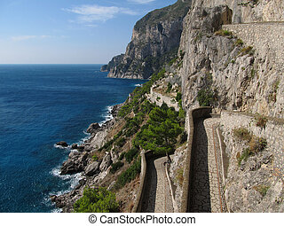 View from Via Krupp on island Capri - The shot is executed...