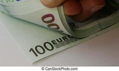 100 euro Man counts the money