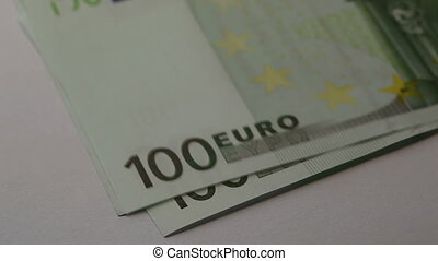 100 euros Man counts the money