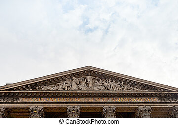 fronton of pantheon, Paris - decor of pediment of Pantheon,...