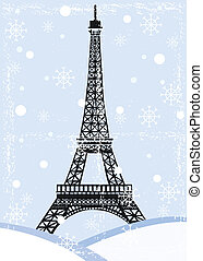 grunge eiffel tower with snow