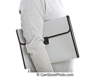 Man carrying a white briefcase - Cropped view of the torso...