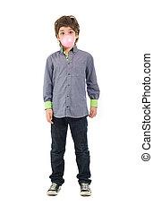 Boy Blowing A Bubble Gum - Portrait Of A Boy Blowing A...