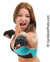 Mid-adult Woman Boxing Over White Background
