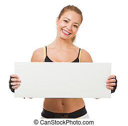 Healthy Mid-adult Woman Holding Placard On White Background