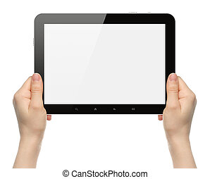Woman hands holding black tablet PC on white background