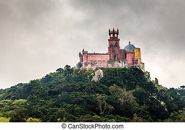 Pena Palace in Sintra near Lisbon in Rainy Weather, Portugal
