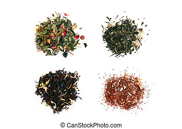 white, green, black and rooibos tea with dry fruits and...