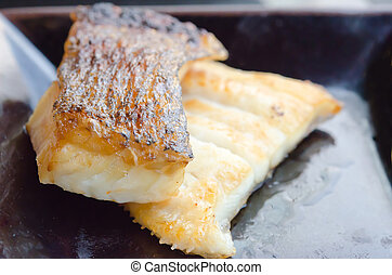 gindara on dish - Japanese grilled cod fish , gindara on...