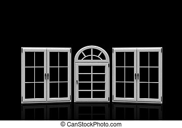 closed plastic windows on black - 3d closed plastic windows...