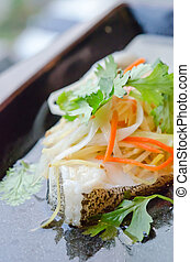 asian cuisine - steamed white fish with vegetable , asian...