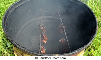 ecologic fish hang smoke - fish hang smoke in smokehouse...
