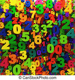 Rainbow digits background - colorful numbers background