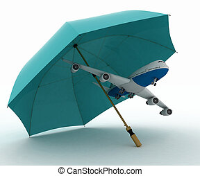 Plane flies under the umbrella - Passenger plane flies under...
