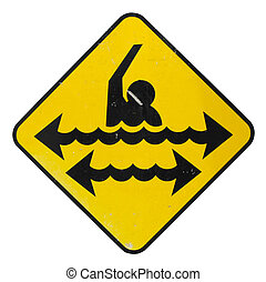 Swimming Danger Sign - Isolation WIth Clipping Path Of A...