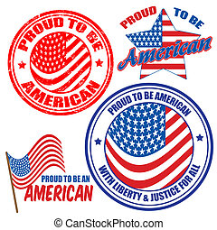 Proud to be american signs and stamps